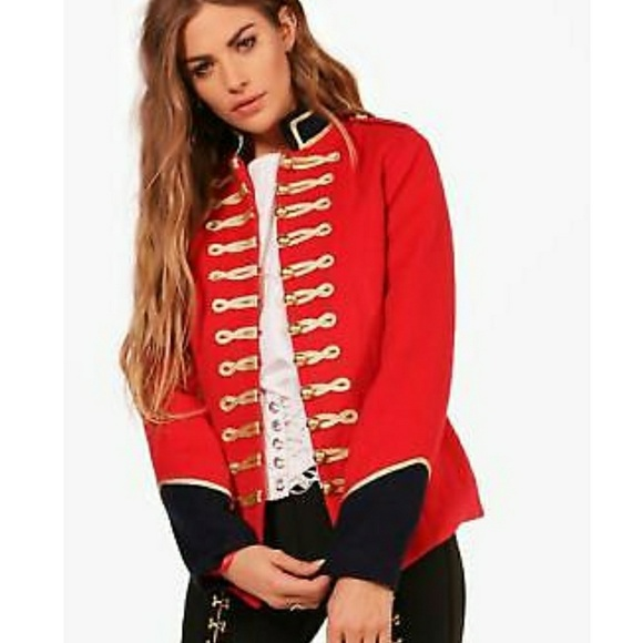 Boohoo Jackets Amp Coats Womens Red Military Style Army